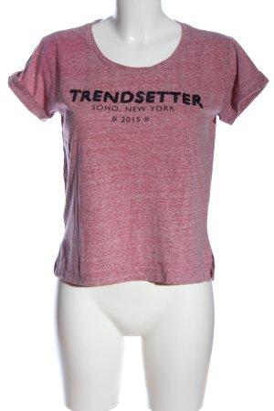 Mango T-Shirt pink-schwarz Schriftzug gedruckt Casual-Look
