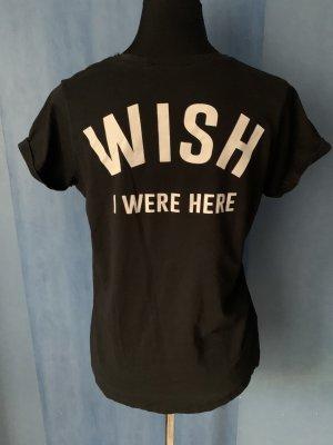 Mango T Shirt Basic Rundhals Baumwolle Wish I were here Schriftzug