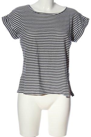 Mango T-shirt noir-blanc motif rayé style décontracté