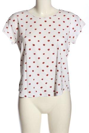 Mango T-shirt biały-czerwony Na całej powierzchni W stylu casual