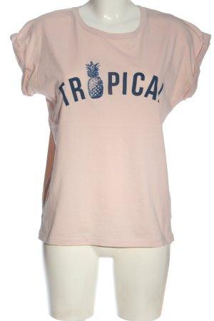 Mango T-Shirt creme Schriftzug gedruckt Casual-Look