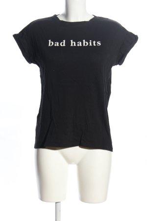 Mango T-Shirt schwarz-weiß Schriftzug gedruckt Casual-Look