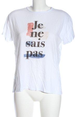 Mango T-Shirt weiß-schwarz Schriftzug gedruckt Casual-Look