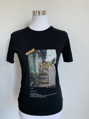 Mango T-Shirt schwarz Gr XS 34 New York Print