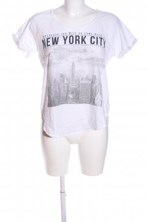 Mango T-Shirt weiß-hellgrau Motivdruck Casual-Look