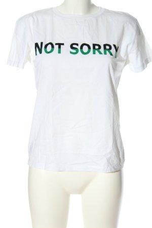 Mango T-Shirt weiß Schriftzug gedruckt Casual-Look