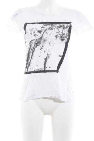 Mango T-Shirt weiß-schwarz Motivdruck Casual-Look