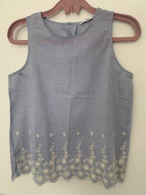 Mango Basics Camisa de mujer blanco-azul celeste