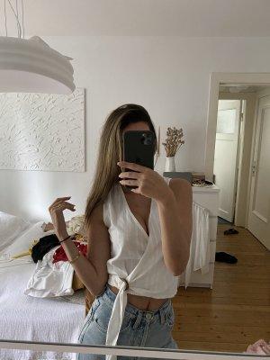 Mango Top Shirt Zara Drapiert Linen Wickel