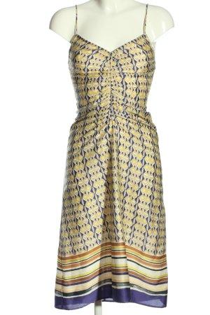 Mango Trägerkleid blassgelb-lila grafisches Muster Elegant