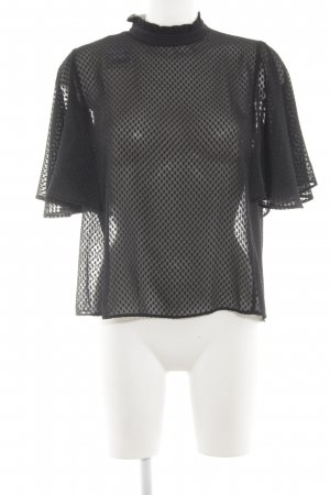 Mango Transparenz-Bluse schwarz Punktemuster Casual-Look