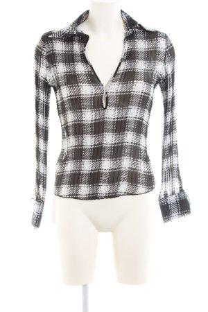 Mango Transparenz-Bluse schwarz-weiß Karomuster Casual-Look