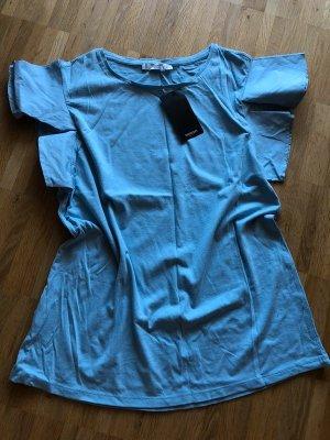 Mango Tshirt 38 M neu blau Volant Ärmel Basic