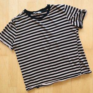 Mango TShirt Gr S beige schwarz gestreift kurzarm Shirt Baumwolle