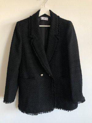 Mango Blazer Tweed negro-color plata