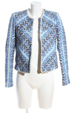 Mango Tweedblazer blau-weiß grafisches Muster Casual-Look