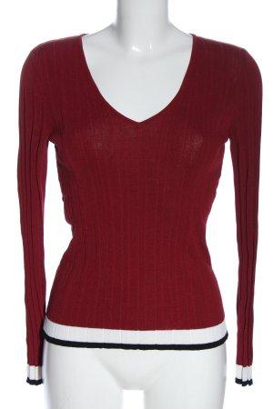 Mango V-Ausschnitt-Pullover rot Elegant