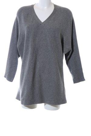 Mango V-Ausschnitt-Pullover hellgrau Streifenmuster Business-Look