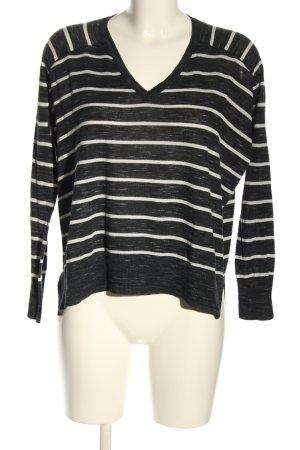 Mango V-Ausschnitt-Pullover schwarz-weiß Streifenmuster Casual-Look