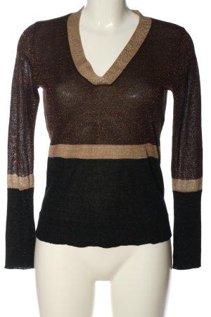 Mango V-Ausschnitt-Pullover schwarz-braun Casual-Look