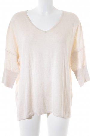 Mango V-Ausschnitt-Pullover beige-hellbeige Casual-Look