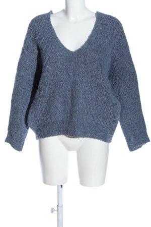Mango V-Ausschnitt-Pullover blau Webmuster Casual-Look
