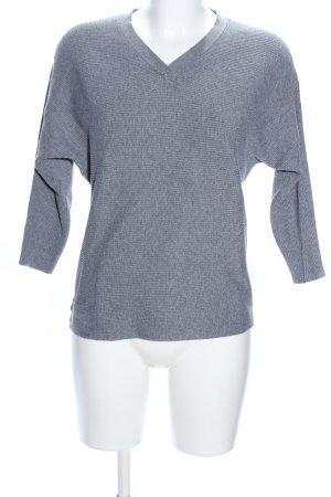 Mango V-Ausschnitt-Pullover hellgrau meliert Casual-Look