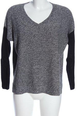 Mango V-Ausschnitt-Pullover hellgrau-schwarz meliert Casual-Look