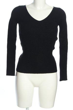 Mango V-Ausschnitt-Pullover schwarz Casual-Look