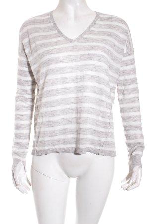 Mango V-Ausschnitt-Pullover hellgrau-weiß meliert Casual-Look