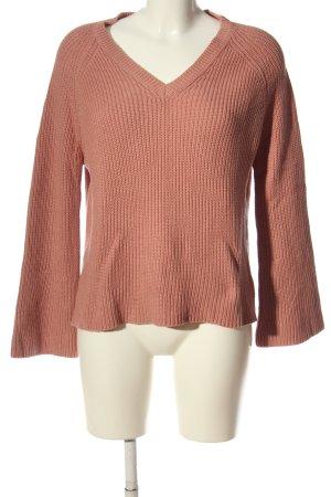 Mango V-Ausschnitt-Pullover nude Zopfmuster Casual-Look