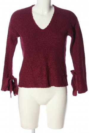 Mango V-Ausschnitt-Pullover rot Streifenmuster Casual-Look