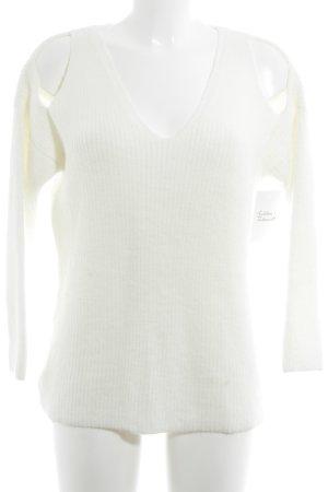 Mango V-Ausschnitt-Pullover wollweiß Webmuster Casual-Look