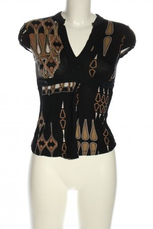 Mango V-Ausschnitt-Shirt abstraktes Muster Casual-Look