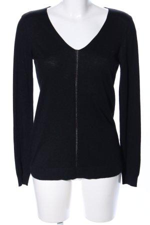 Mango V-Ausschnitt-Shirt schwarz Casual-Look