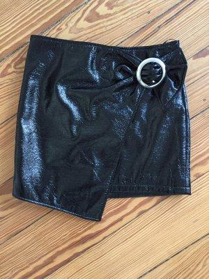 MANGO Vinyl-Rock Vinylrock Lacklederrock Minirock Leder schwarz - 36