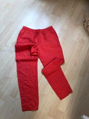 Mango Basics Pantalone di lino rosso mattone