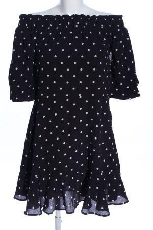 Mango Volantkleid schwarz-weiß Punktemuster Elegant