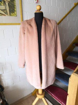 Mango Suit Płaszcz ze sztucznym futrem stary róż