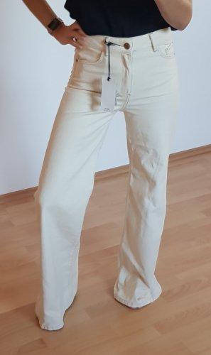 Mango Pantalone a zampa d'elefante crema-beige chiaro