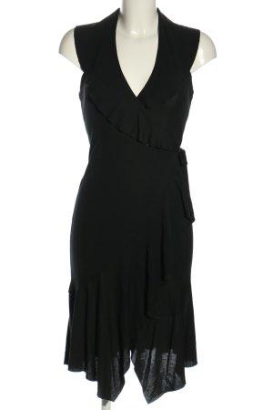 Mango Vestido cruzado negro elegante