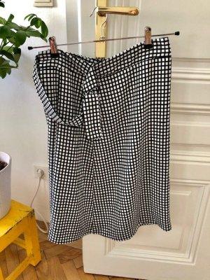 Mango Suit Jupe portefeuille blanc-noir polyester