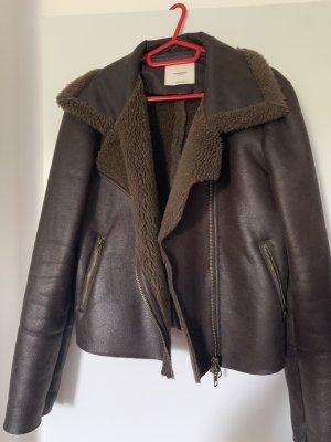 Mango Fur Jacket dark brown