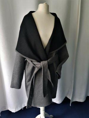 Mango Wełniany płaszcz czarny-szary
