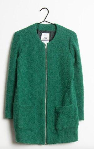 Mango Abrigo de lana verde bosque Lana