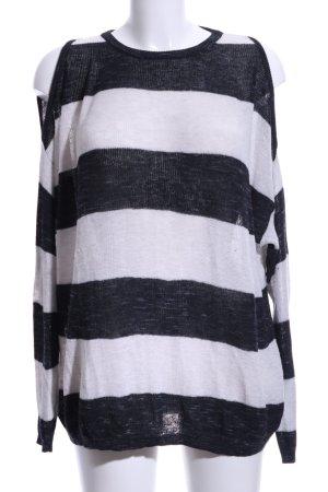 Mango Wollpullover weiß-schwarz Streifenmuster Casual-Look