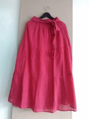 Mango Spódnica midi różowy Wiskoza