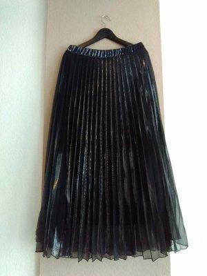 Mango wunderschöner plissierter Midi-Tüllrock in schwarz-silber, Grösse L, neu