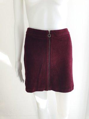 Mango XS Rock Samt Samtrock Minirock Dunkelrot Partyrock Kleid High Waist Skirt Miniskirt Dress