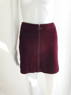Mango XS Rock Samt Samtrock Minirock Dunkelrot Partyrock Kleid High Waist Skirt Miniskirt Dress Pullover Pulli